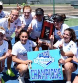 The Idaho women's tennis team celebrates their second consecutive Big Sky Championship Sunday.
