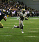 Junior running back Aaron Duckworth runs the ball during Thursday's game against Montana State at the Kibbie Dome.
