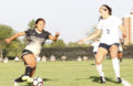 Sophomore forward Kayla Watanabe drives down the pitch Aug. 26 against Gonzaga at Guy Wicks Field.