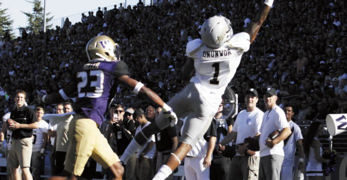 Junior wide receiver Alfonso Onunwor reaches for a pass Sept. 10 against Washington in Seattle.