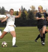 Junior forward Olivia Baggerly passes the ball during Friday's game against Northern Colorado at Guy Wicks Field.