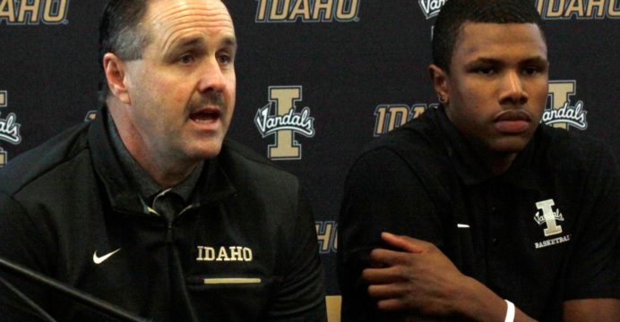 Idaho men's basketball head coach Don Verlin answers questions during Thursday's Big Sky Basketball Media Day in the Litehouse Center of the Kibbie Dome.