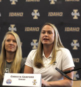 Idaho associate head coach Christa Sanford answers questions during Thursday's Big Sky Basketball Media Day in the Litehouse Center of the Kibbie Dome.